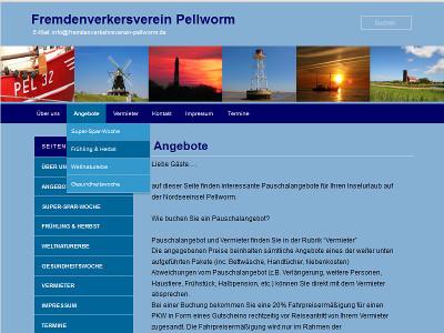 Webseite das Pellworm Fremdenverkehrsvereins. Spezielle Urlaubsangebote der Insel Pellworm